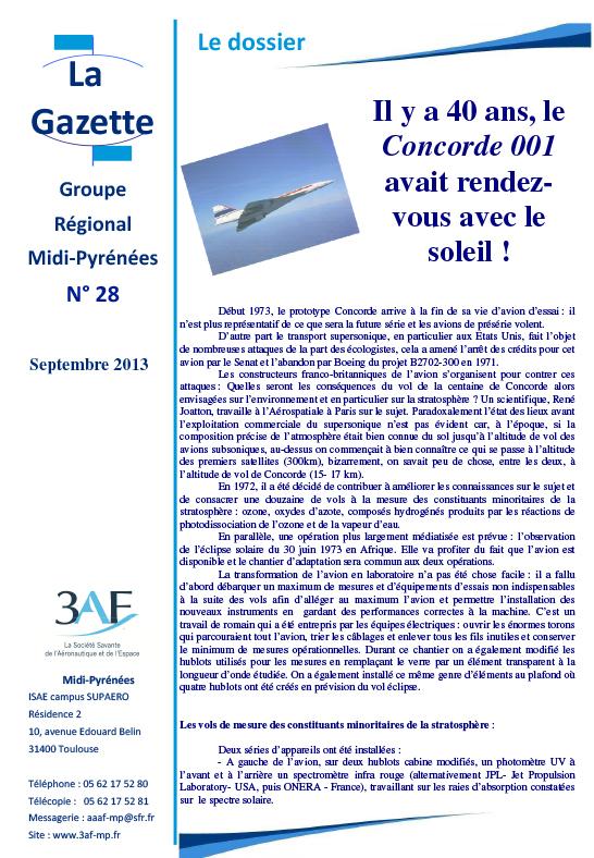 3AF Dossier Concorde 001 avait rendez-vous avec le soleil