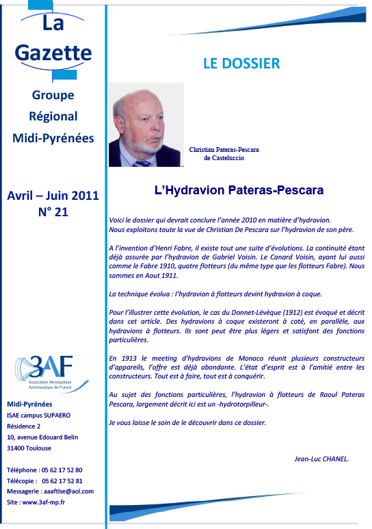 3AF Dossier hydravion Pateras-Pescara