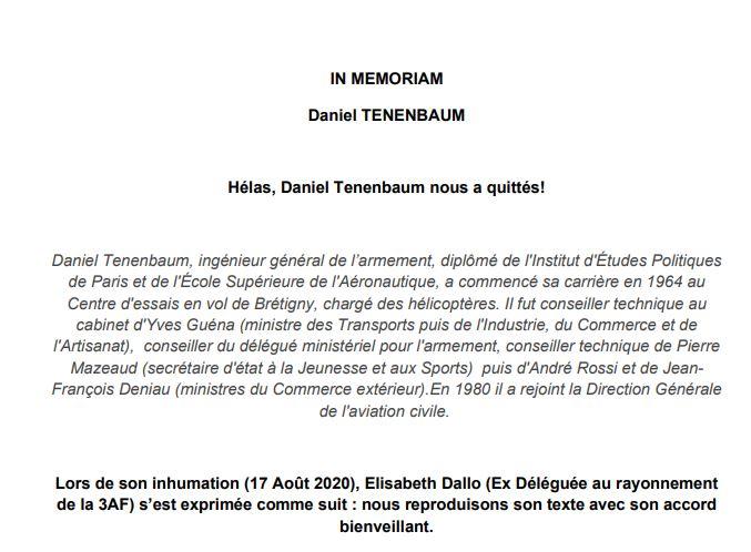 In Memorium : Daniel Tenenbaum